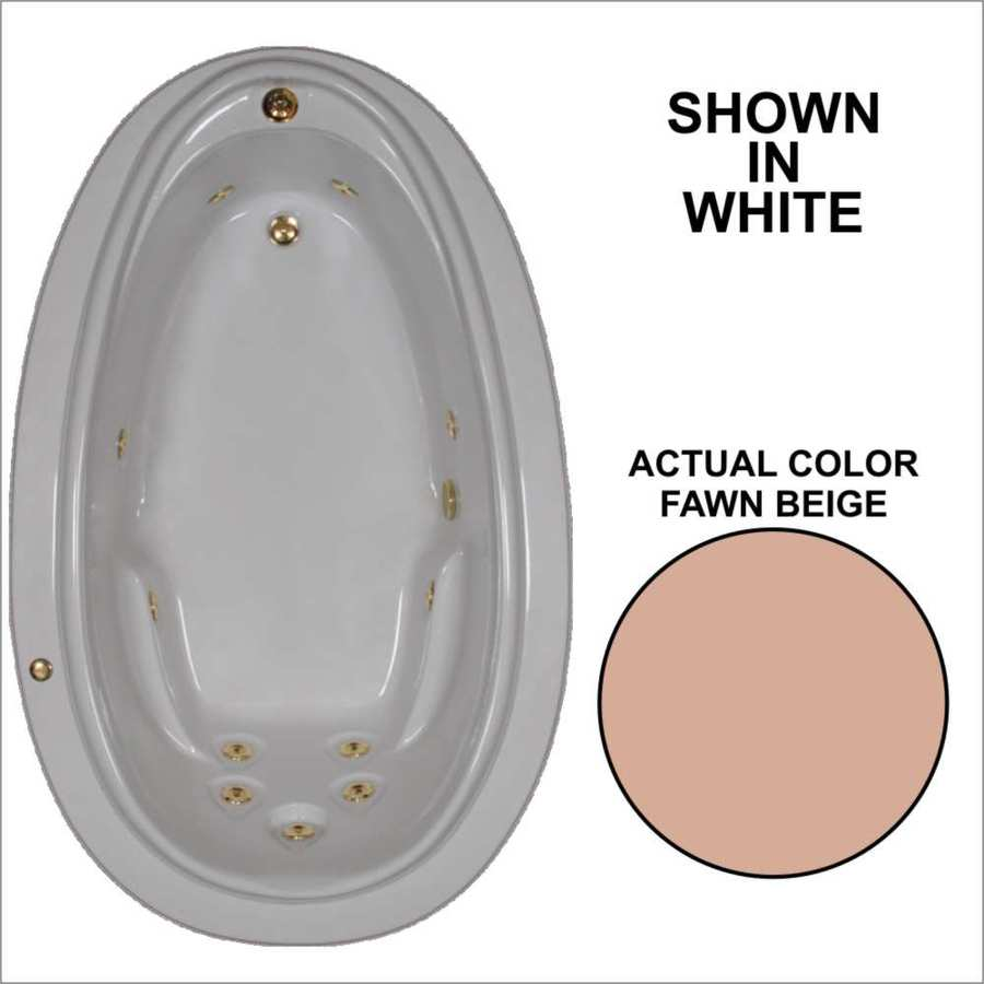 Watertech Whirlpool Baths Elite Fawn Beige Acrylic Oval Whirlpool Tub (Common: 44-in x 72-in; Actual: 21.25-in x 44.125-in x 70.875-in)