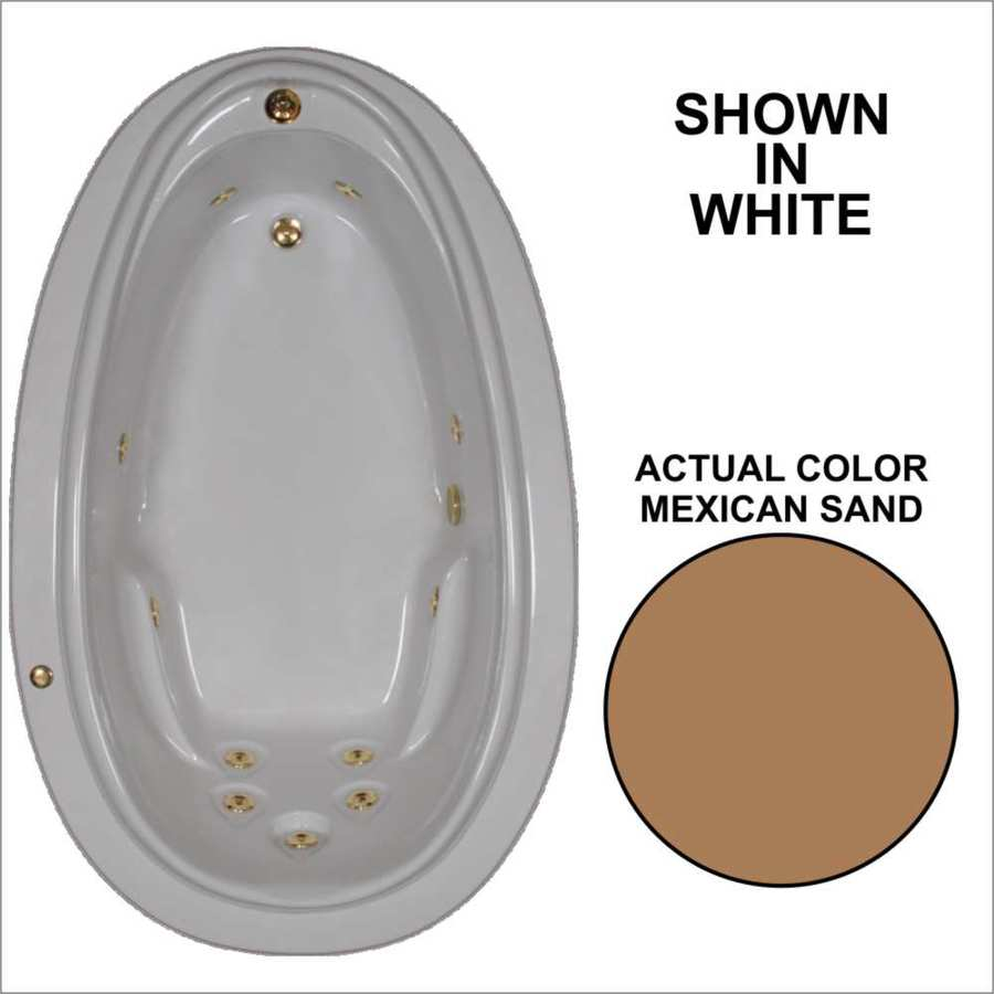 Watertech Whirlpool Baths Elite 70.875-in Mexican Sand Acrylic Drop-In Whirlpool Tub with Reversible Drain