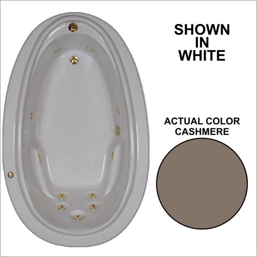 Watertech Whirlpool Baths Elite Cashmere Acrylic Oval Whirlpool Tub (Common: 44-in x 72-in; Actual: 21.25-in x 44.125-in x 70.875-in)