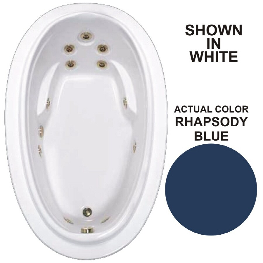 Watertech Whirlpool Baths Elite Rhapsody Blue Acrylic Oval Whirlpool Tub (Common: 44-in x 72-in; Actual: 21.25-in x 44.125-in x 70.875-in)