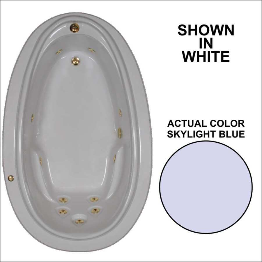 Watertech Whirlpool Baths Elite Skylight Blue Acrylic Oval Whirlpool Tub (Common: 44-in x 72-in; Actual: 21.25-in x 44.125-in x 70.875-in)