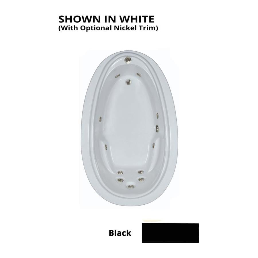 Watertech Whirlpool Baths Elite Black Acrylic Oval Whirlpool Tub (Common: 44-in x 72-in; Actual: 21.25-in x 44.125-in x 70.875-in)