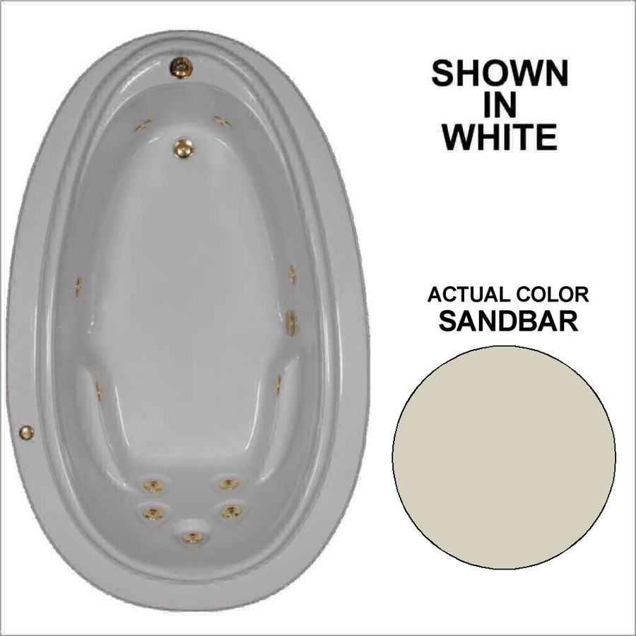 Watertech Whirlpool Baths Elite Sandbar Acrylic Oval Whirlpool Tub (Common: 44-in x 72-in; Actual: 21.25-in x 44.125-in x 70.875-in)