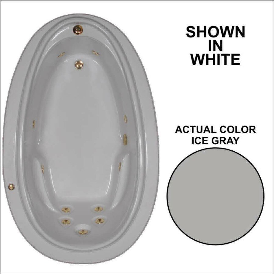Watertech Whirlpool Baths Elite Ice Gray Acrylic Oval Whirlpool Tub (Common: 44-in x 72-in; Actual: 21.25-in x 44.125-in x 70.875-in)