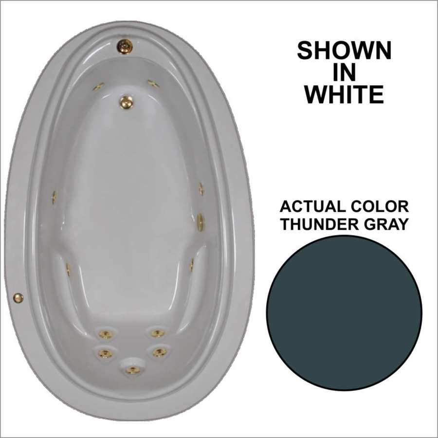 Watertech Whirlpool Baths Elite 70.875-in Thunder Gray Acrylic Drop-In Whirlpool Tub with Reversible Drain