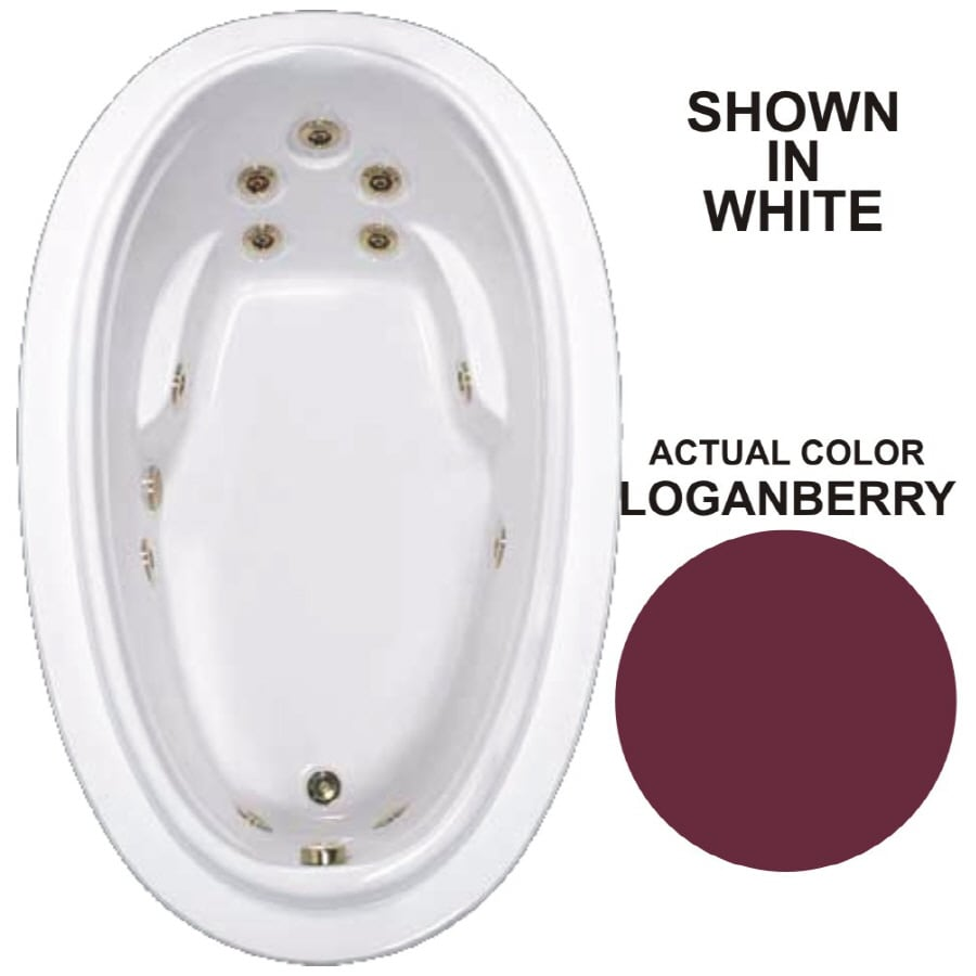 Watertech Whirlpool Baths Elite 70.875-in Loganberry Acrylic Drop-In Whirlpool Tub with Reversible Drain