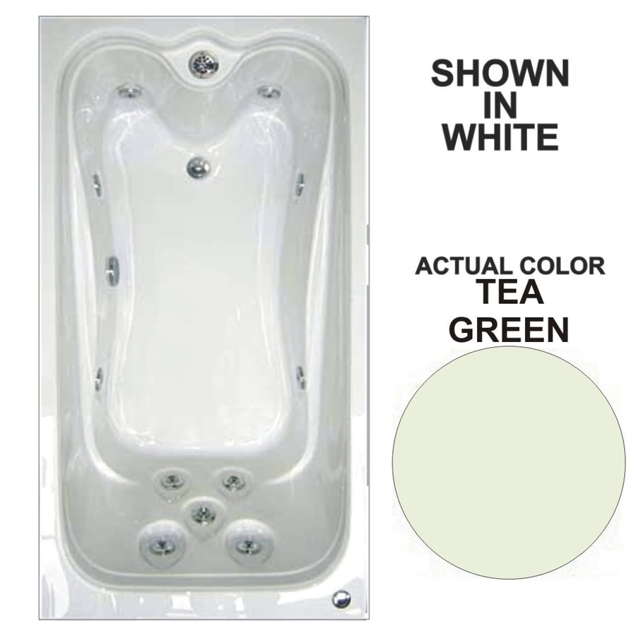 Watertech Whirlpool Baths 72-in Tea Green Acrylic Drop-In Whirlpool Tub with Reversible Drain