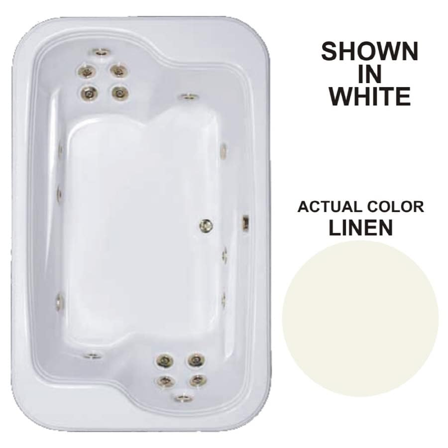 Watertech Whirlpool Baths Designer 2-Person Linen Acrylic Rectangular Whirlpool Tub (Common: 45-in x 72-in; Actual: 25.375-in x 44.5-in x 71.5-in)