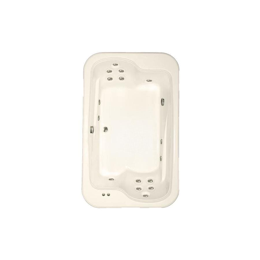 Watertech Whirlpool Baths Designer 71.5-in Bone Acrylic Drop-In Whirlpool Tub with Reversible Drain