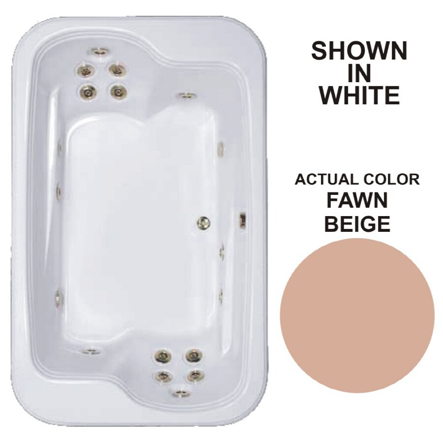 Watertech Whirlpool Baths Designer 2-Person Fawn Beige Acrylic Rectangular Whirlpool Tub (Common: 45-in x 72-in; Actual: 25.375-in x 44.5-in x 71.5-in)