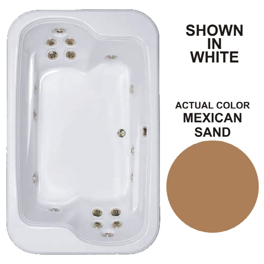 Watertech Whirlpool Baths Designer 2-Person Mexican Sand Acrylic Rectangular Whirlpool Tub (Common: 45-in x 72-in; Actual: 25.375-in x 44.5-in x 71.5-in)