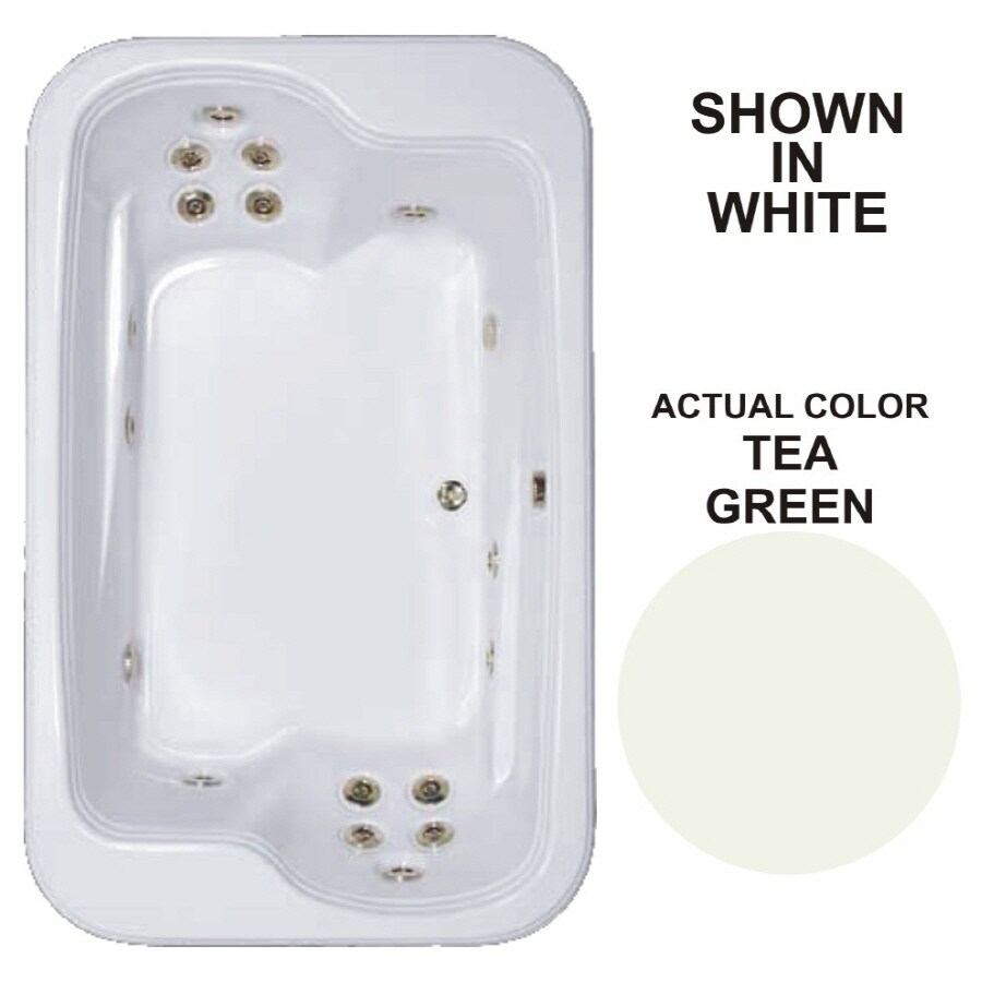 Watertech Whirlpool Baths Designer 71.5-in Tea Green Acrylic Drop-In Whirlpool Tub with Reversible Drain