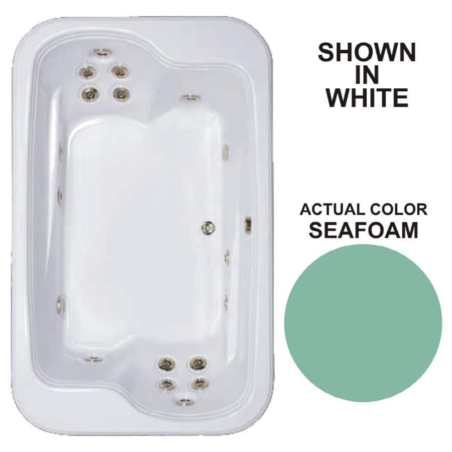 Watertech Whirlpool Baths Designer 2-Person Seafoam Acrylic Rectangular Whirlpool Tub (Common: 45-in x 72-in; Actual: 25.375-in x 44.5-in x 71.5-in)