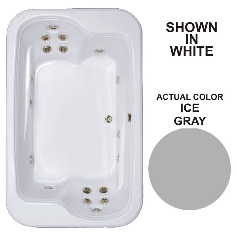 Watertech Whirlpool Baths Designer 2-Person Ice Gray Acrylic Rectangular Whirlpool Tub (Common: 45-in x 72-in; Actual: 25.375-in x 44.5-in x 71.5-in)
