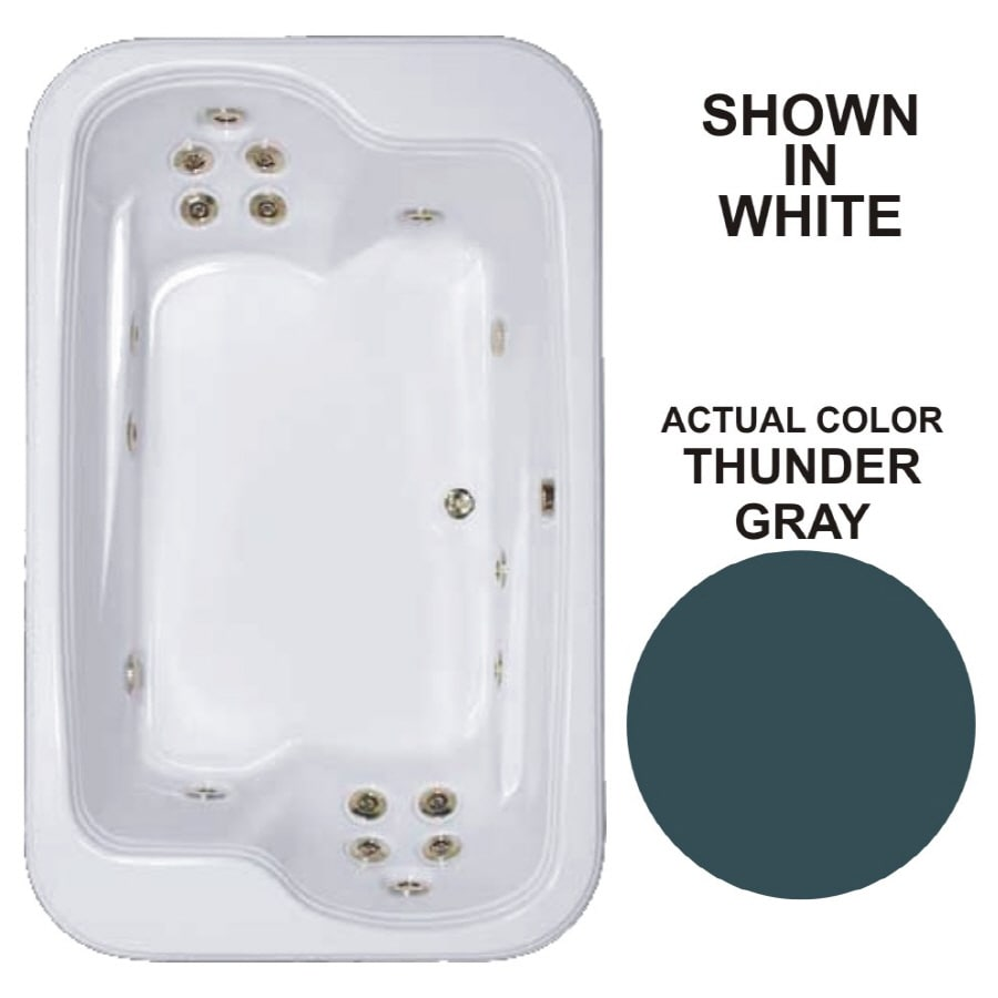 Watertech Whirlpool Baths Designer 2-Person Thunder Grey Acrylic Rectangular Whirlpool Tub (Common: 45-in x 72-in; Actual: 25.375-in x 44.5-in x 71.5-in)
