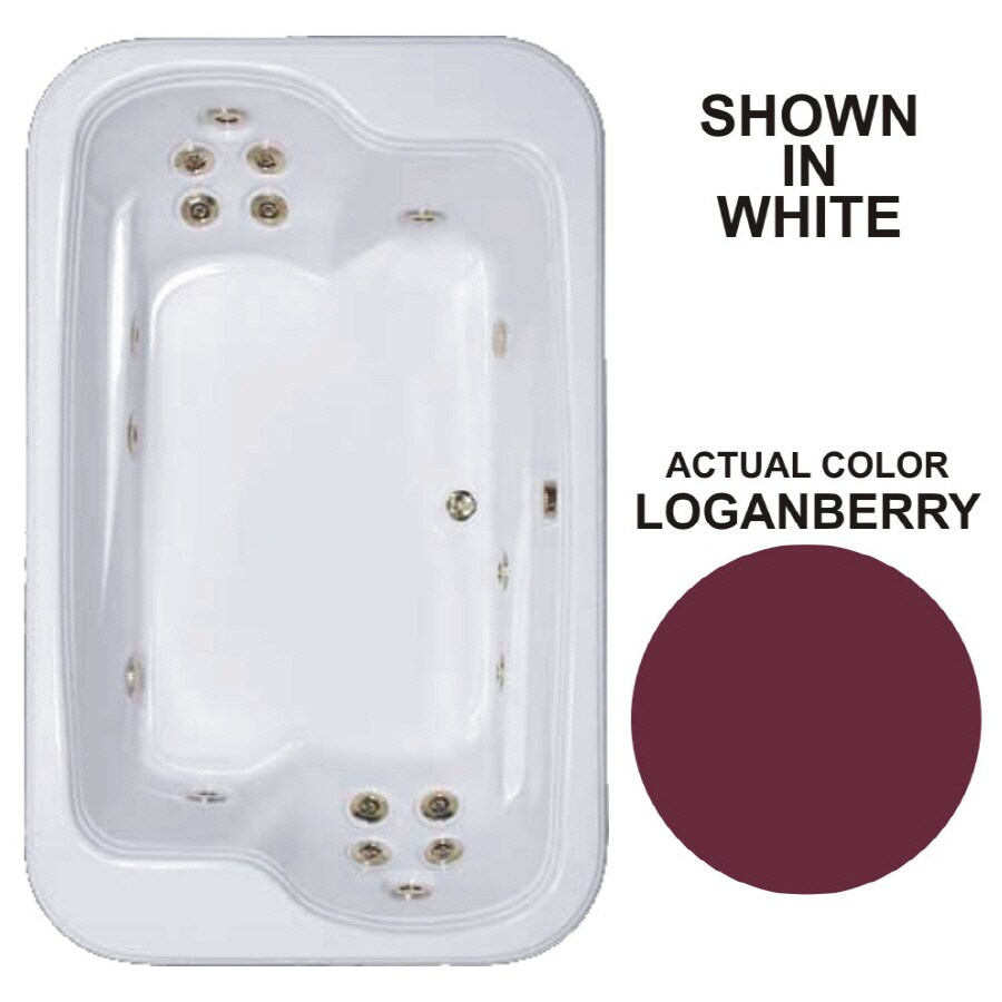 Watertech Whirlpool Baths Designer 2-Person Loganberry Acrylic Rectangular Whirlpool Tub (Common: 45-in x 72-in; Actual: 25.375-in x 44.5-in x 71.5-in)