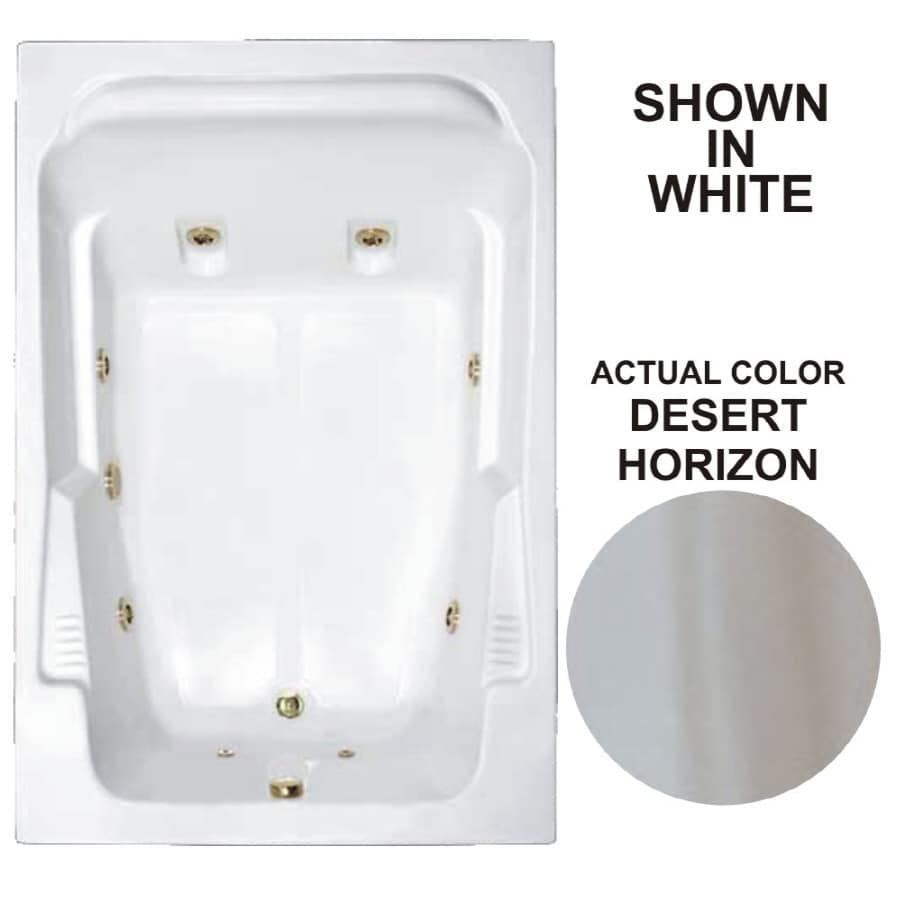 Watertech Whirlpool Baths Designer 71.75-in Desert Horizon Acrylic Drop-In Whirlpool Tub with Reversible Drain