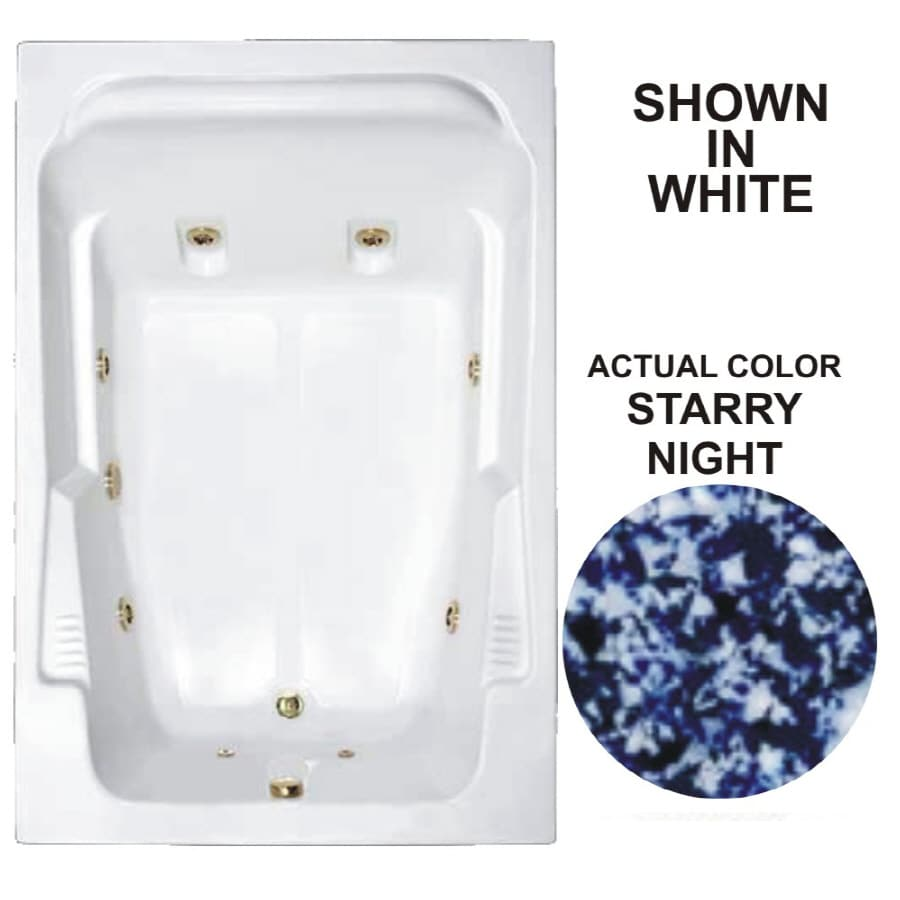 Watertech Whirlpool Baths Designer 71.75-in Starry Night Acrylic Drop-In Whirlpool Tub with Reversible Drain
