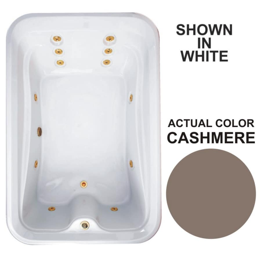 Watertech Whirlpool Baths Elite 72-in Cashmere Acrylic Drop-In Whirlpool Tub with Reversible Drain