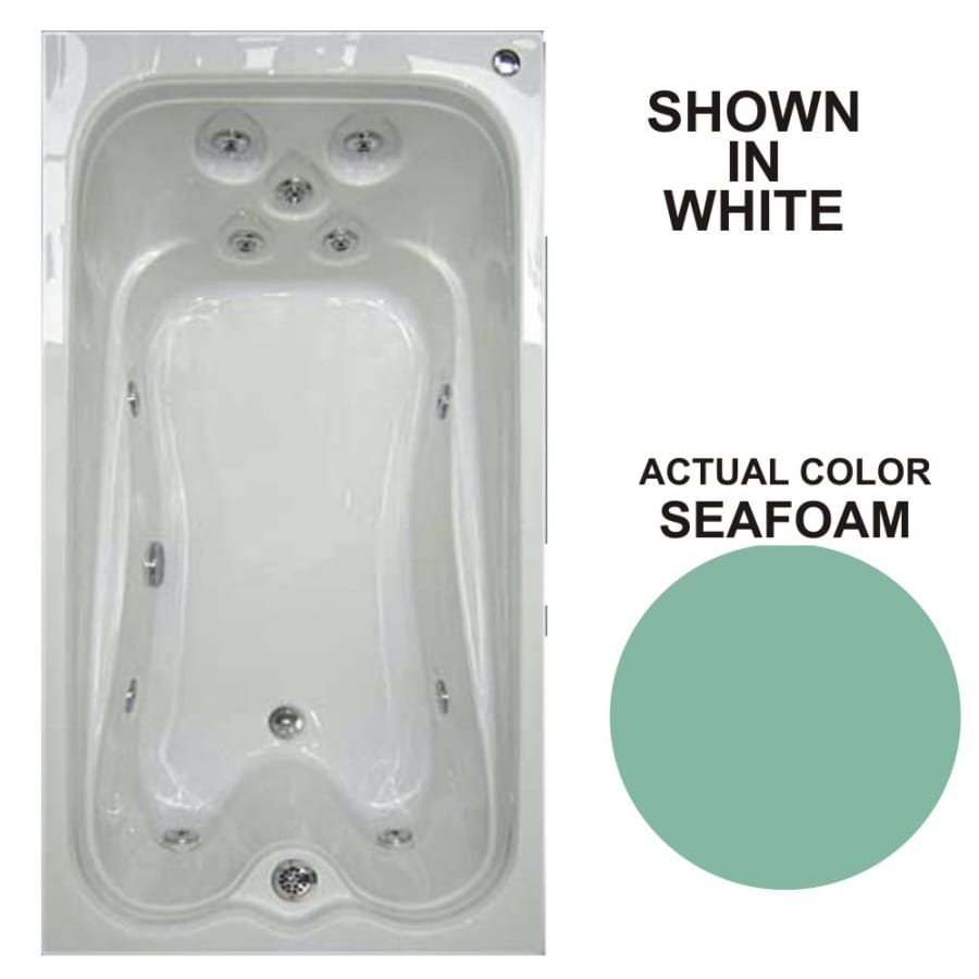 Watertech Whirlpool Baths Warertech Seafoam Acrylic Rectangular Whirlpool Tub (Common: 36-in x 72-in; Actual: 21.5-in x 36-in x 72-in)