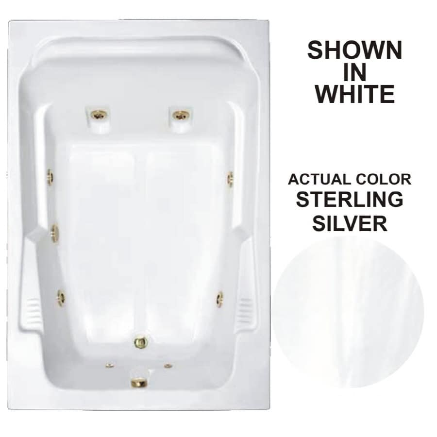 Watertech Whirlpool Baths Designer 71.75-in Sterling Silver Acrylic Drop-In Whirlpool Tub with Reversible Drain