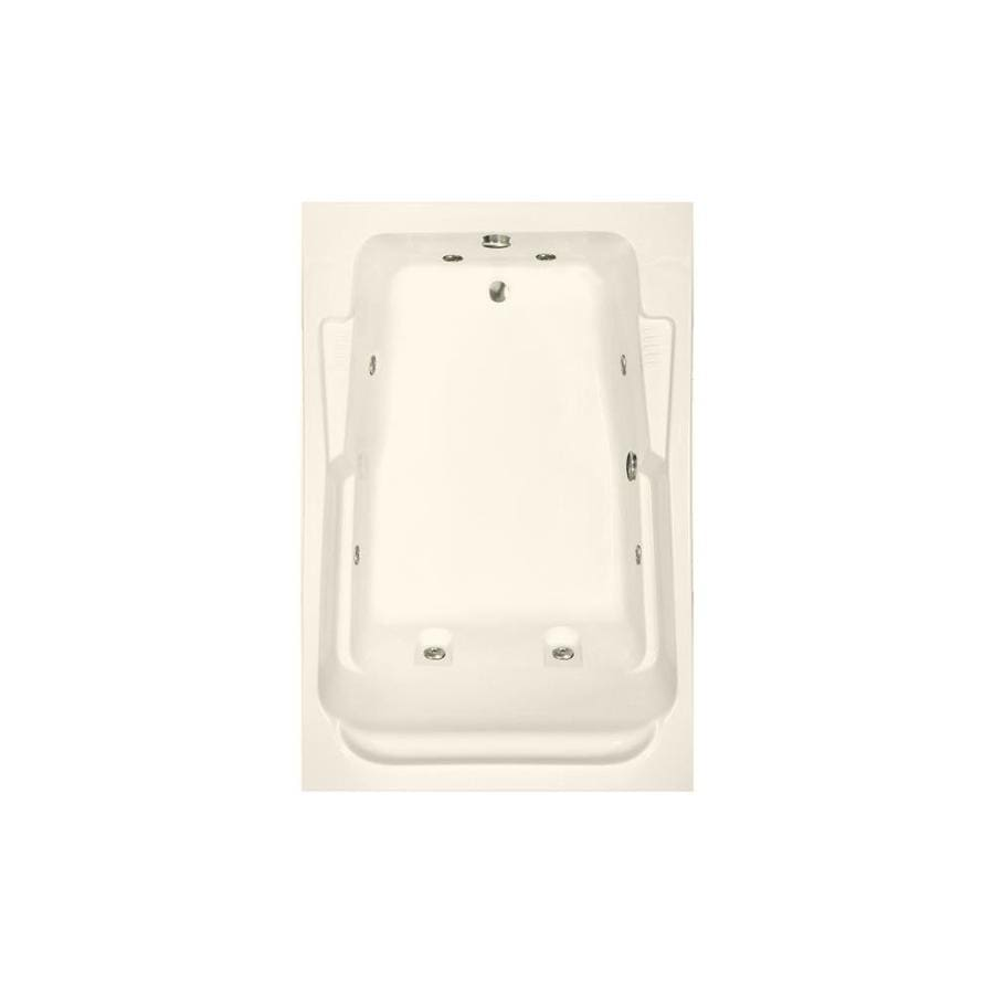 Watertech Whirlpool Baths Designer 71.75-in Bone Acrylic Drop-In Whirlpool Tub with Reversible Drain