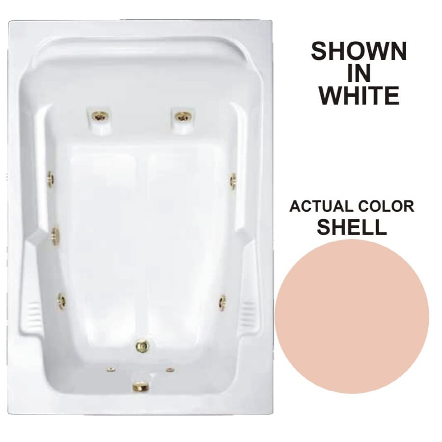 Watertech Whirlpool Baths Designer 71.75-in Shell Acrylic Drop-In Whirlpool Tub with Reversible Drain