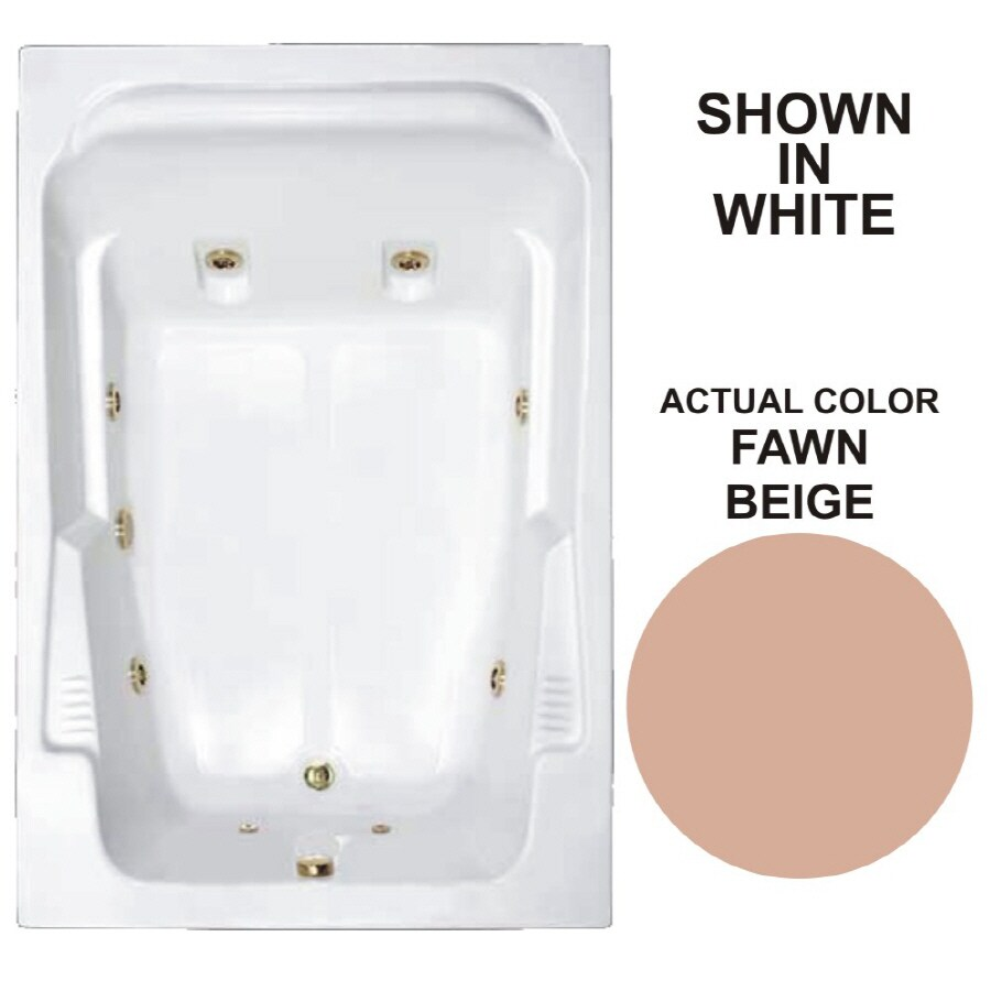 Watertech Whirlpool Baths Designer 71.75-in Fawn Beige Acrylic Drop-In Whirlpool Tub with Reversible Drain