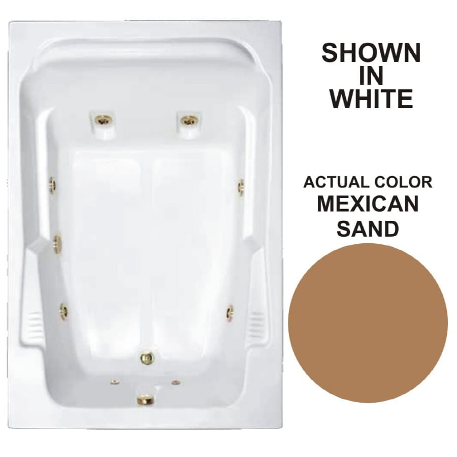 Watertech Whirlpool Baths Designer 2-Person Mexican Sand Acrylic Rectangular Whirlpool Tub (Common: 48-in x 72-in; Actual: 22-in x 48.25-in x 71.75-in)