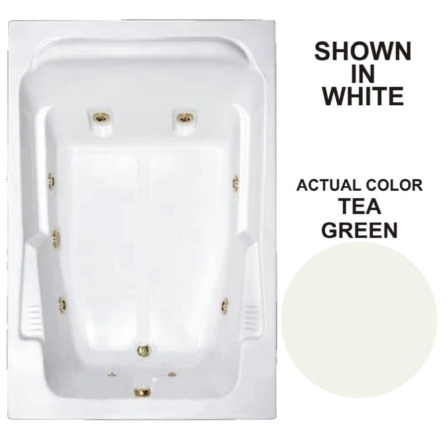 Watertech Whirlpool Baths Designer 71.75-in Tea Green Acrylic Drop-In Whirlpool Tub with Reversible Drain