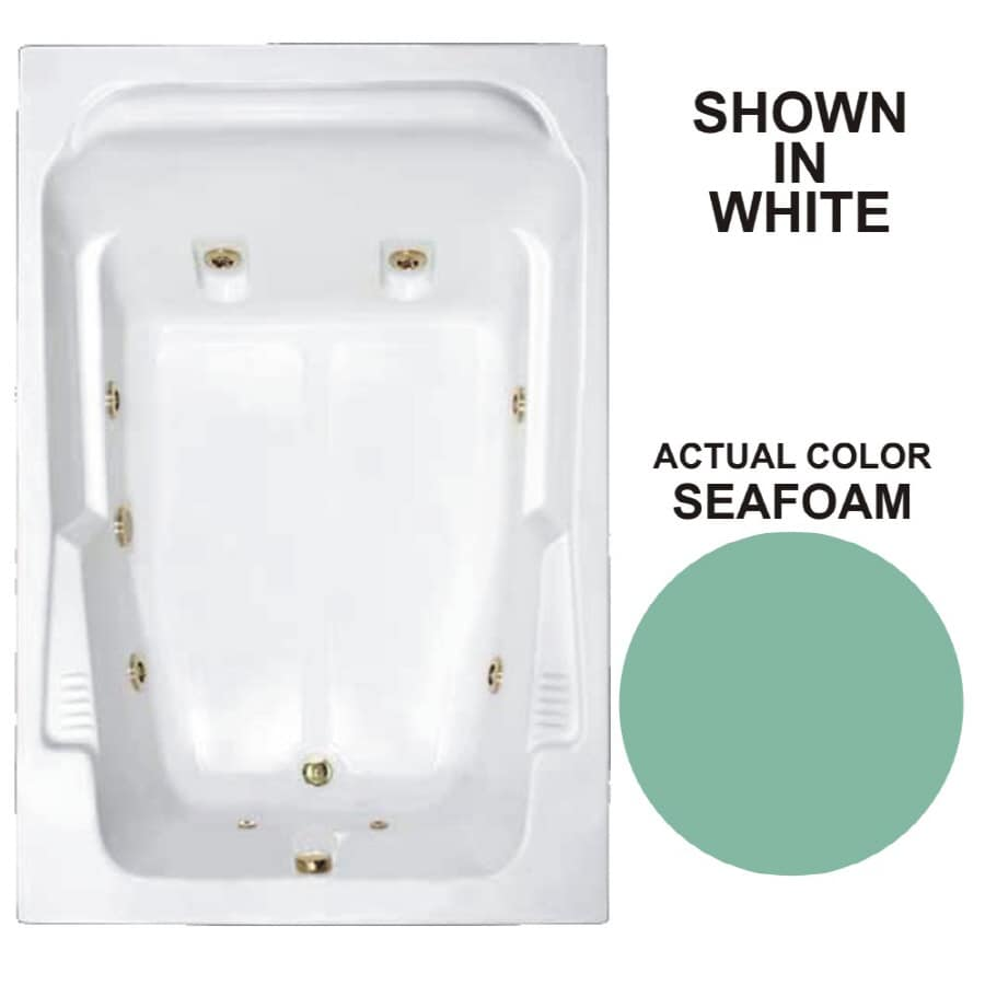 Watertech Whirlpool Baths Designer 71.75-in Seafoam Acrylic Drop-In Whirlpool Tub with Reversible Drain