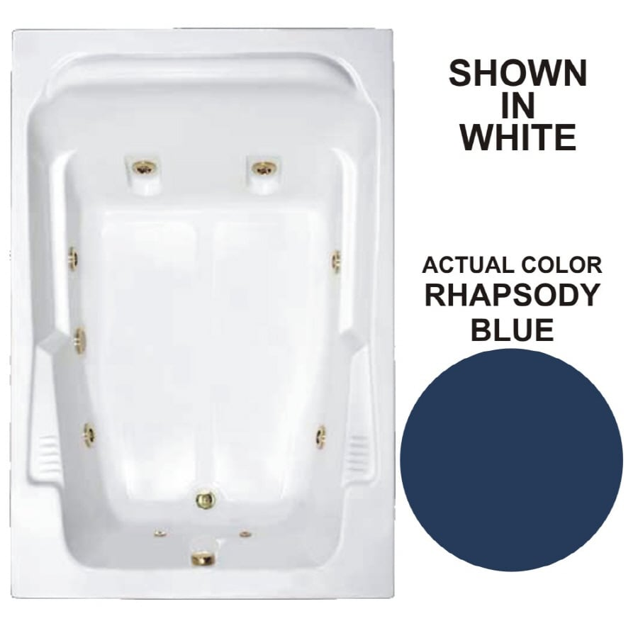 Watertech Whirlpool Baths Designer 2-Person Rhapsody Blue Acrylic Rectangular Whirlpool Tub (Common: 48-in x 72-in; Actual: 22-in x 48.25-in x 71.75-in)