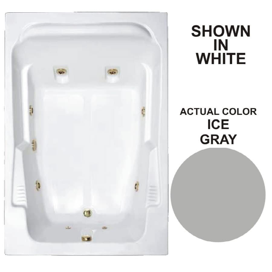 Watertech Whirlpool Baths Designer 2-Person Ice Gray Acrylic Rectangular Whirlpool Tub (Common: 48-in x 72-in; Actual: 22-in x 48.25-in x 71.75-in)