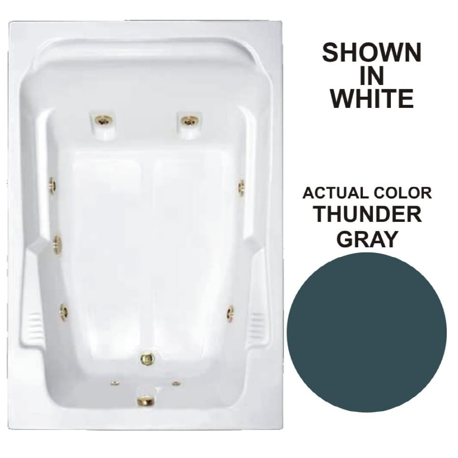 Watertech Whirlpool Baths Designer 71.75-in Thunder Gray Acrylic Drop-In Whirlpool Tub with Reversible Drain