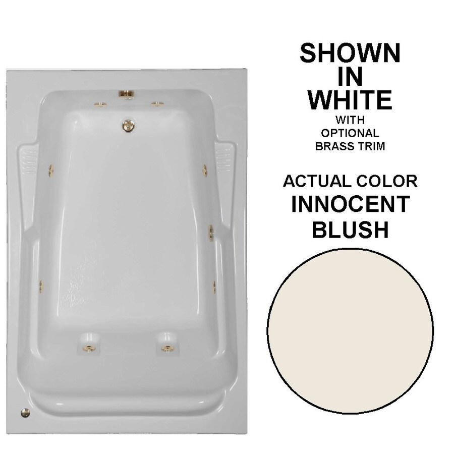 Watertech Whirlpool Baths Designer 72-in Innocent Blush Acrylic Drop-In Whirlpool Tub with Reversible Drain