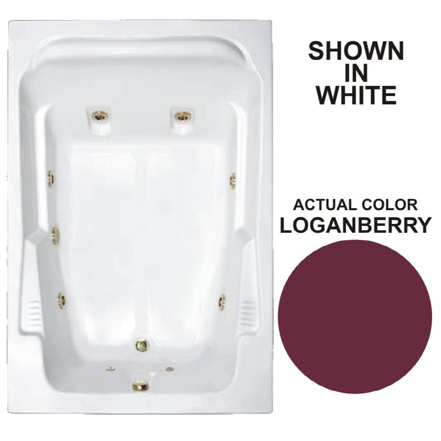 Watertech Whirlpool Baths Designer 71.75-in Loganberry Acrylic Drop-In Whirlpool Tub with Reversible Drain