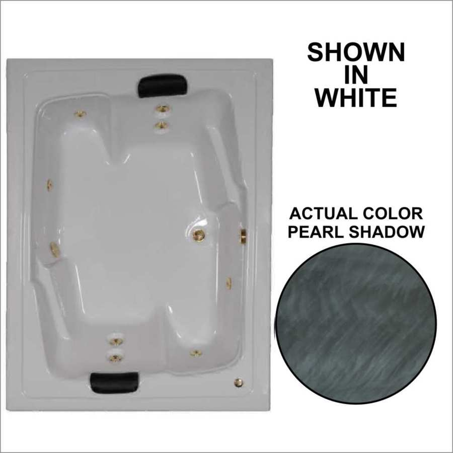Watertech Whirlpool Baths Designer 71.5-in Pearl Shadow Acrylic Drop-In Whirlpool Tub with Reversible Drain