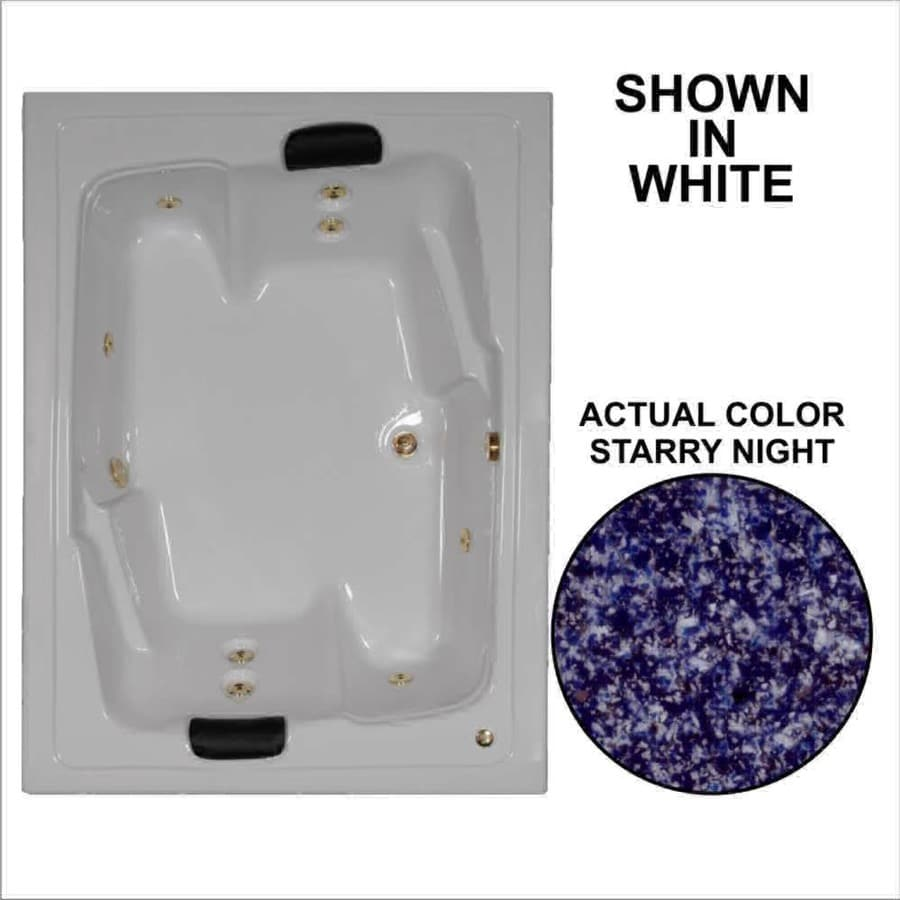 Watertech Whirlpool Baths Designer 2-Person Starry Night Acrylic Rectangular Whirlpool Tub (Common: 54-in x 72-in; Actual: 20.625-in x 53.625-in x 71.5-in)