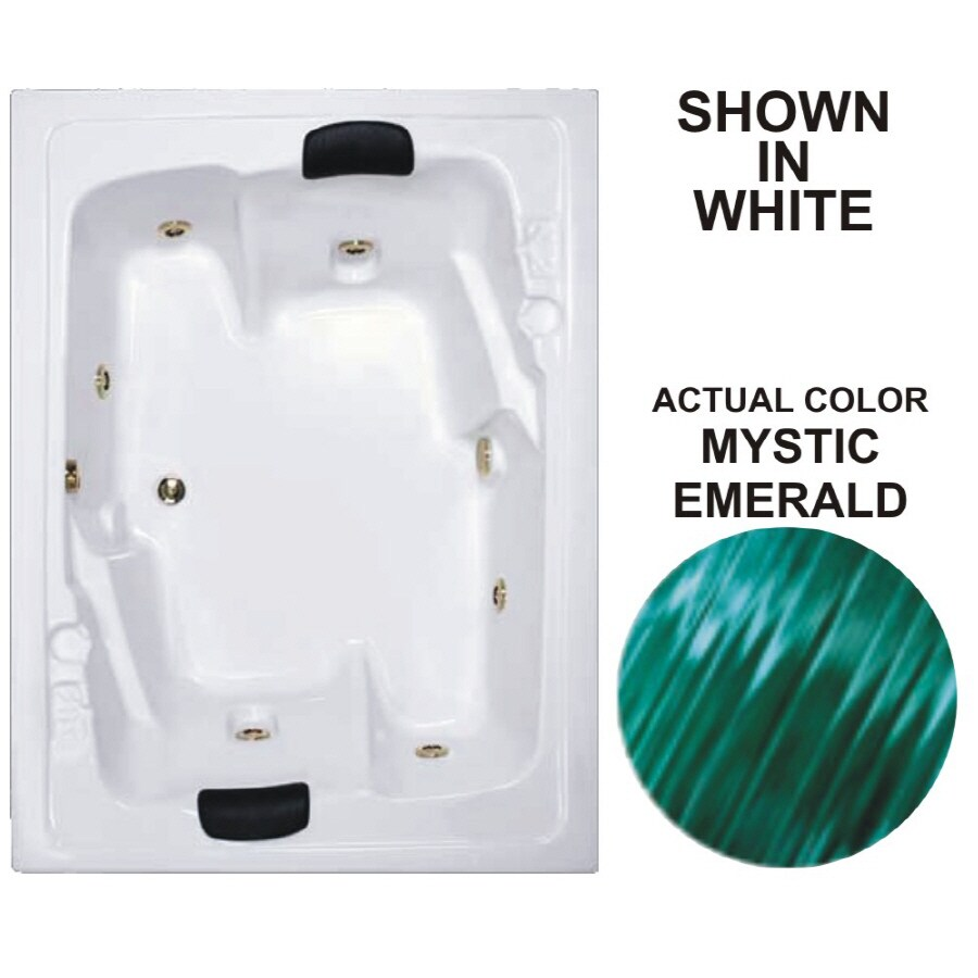 Watertech Whirlpool Baths Designer 71.5-in Mystic Emerald Acrylic Drop-In Whirlpool Tub with Reversible Drain