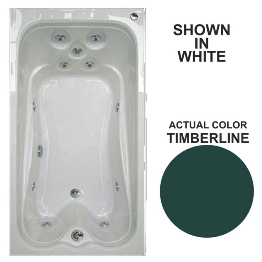 Watertech Whirlpool Baths Warertech 72-in Timberline Acrylic Drop-In Whirlpool Tub with Reversible Drain
