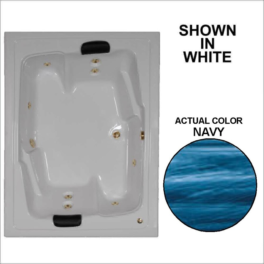 Watertech Whirlpool Baths Designer 71.5-in Navy Acrylic Drop-In Whirlpool Tub with Reversible Drain