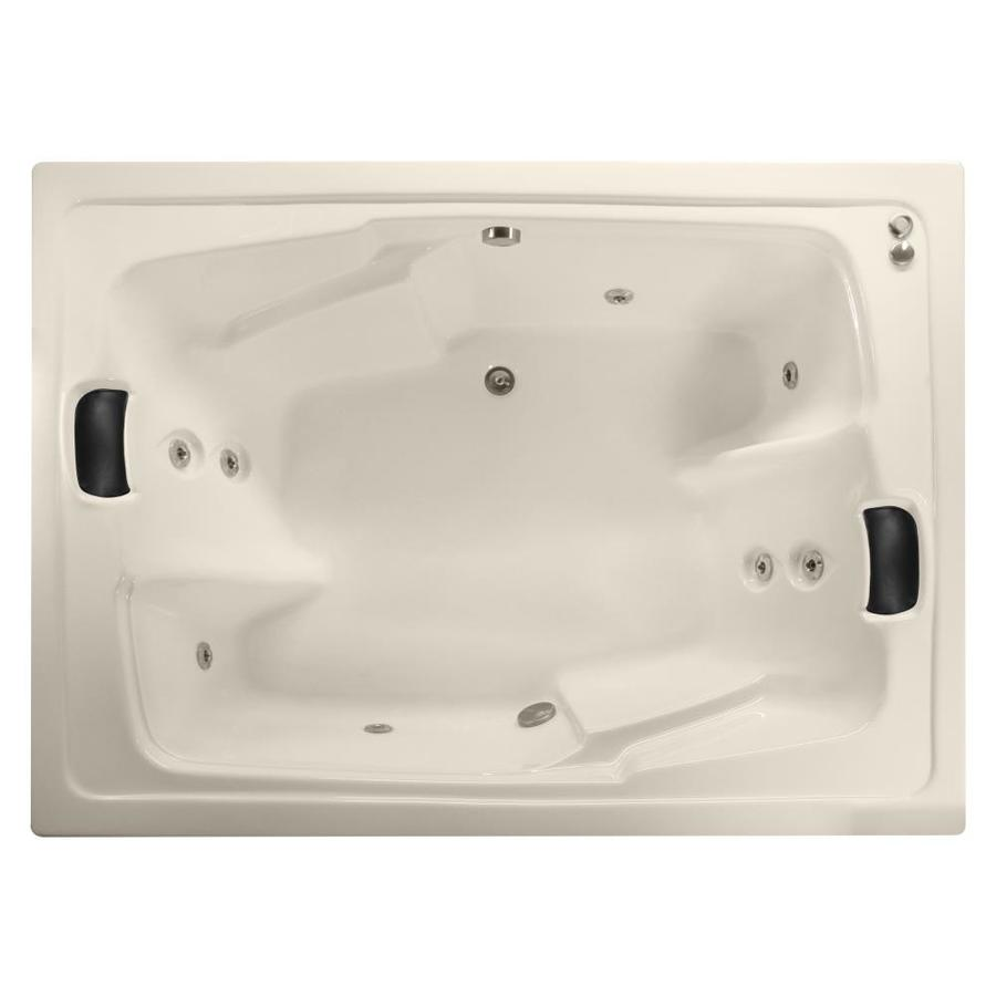 Watertech Whirlpool Baths Designer 2-Person Bone Acrylic Rectangular Whirlpool Tub (Common: 54-in x 72-in; Actual: 20.625-in x 53.625-in x 71.5-in)