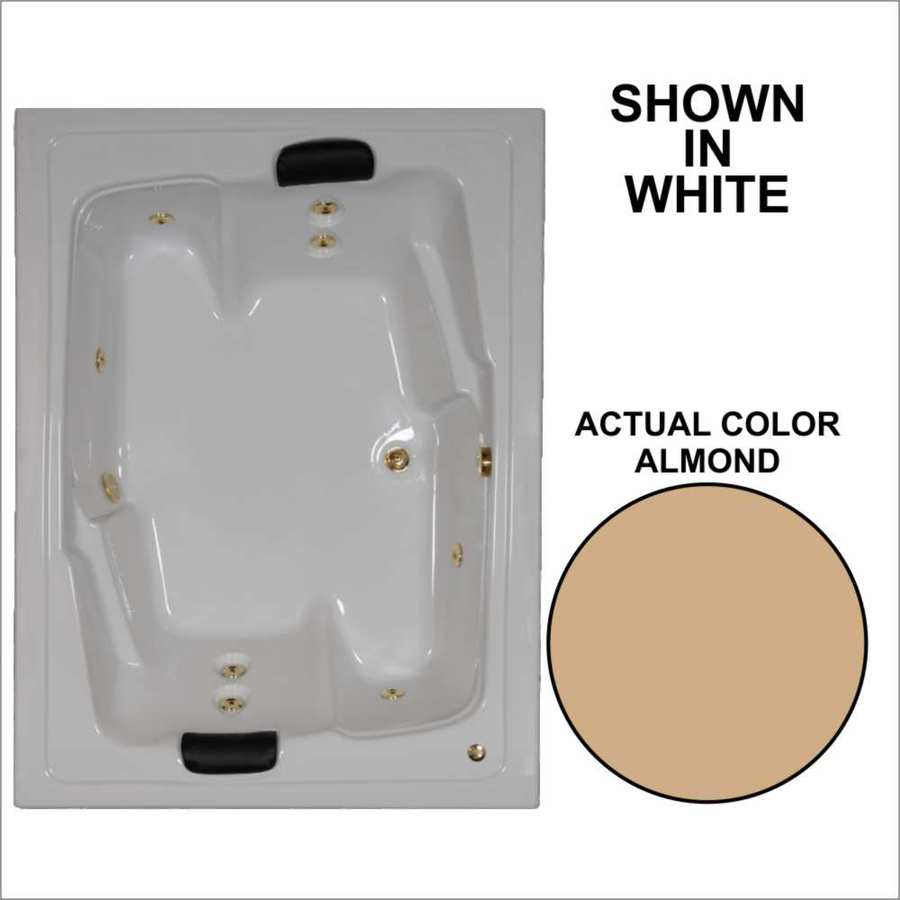 Watertech Whirlpool Baths Designer 2-Person Almond Acrylic Rectangular Whirlpool Tub (Common: 54-in x 72-in; Actual: 20.625-in x 53.625-in x 71.5-in)