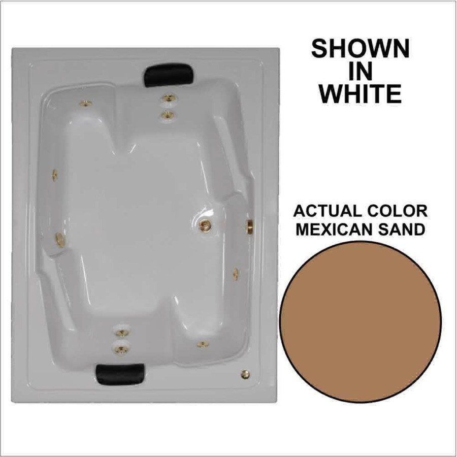 Watertech Whirlpool Baths Designer 2-Person Mexican Sand Acrylic Rectangular Whirlpool Tub (Common: 54-in x 72-in; Actual: 20.625-in x 53.625-in x 71.5-in)