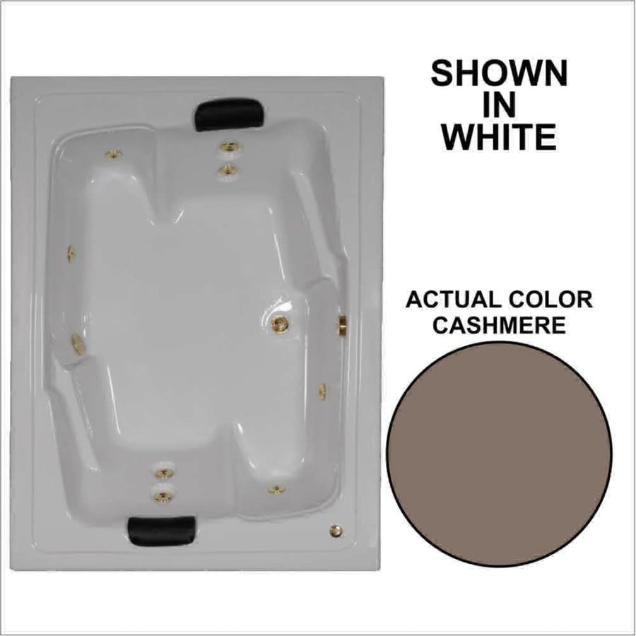 Watertech Whirlpool Baths Designer 71.5-in Cashmere Acrylic Drop-In Whirlpool Tub with Reversible Drain
