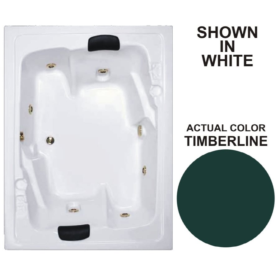 Watertech Whirlpool Baths Designer 71.5-in Timberline Acrylic Drop-In Whirlpool Tub with Reversible Drain