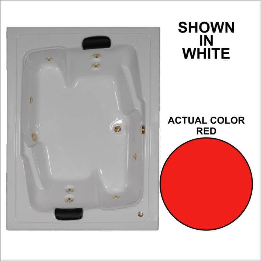 Watertech Whirlpool Baths Designer 71.5-in Red Acrylic Drop-In Whirlpool Tub with Reversible Drain
