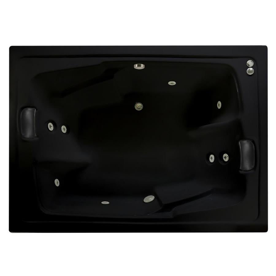 Watertech Whirlpool Baths Designer 71.5-in Black Acrylic Drop-In Whirlpool Tub with Reversible Drain