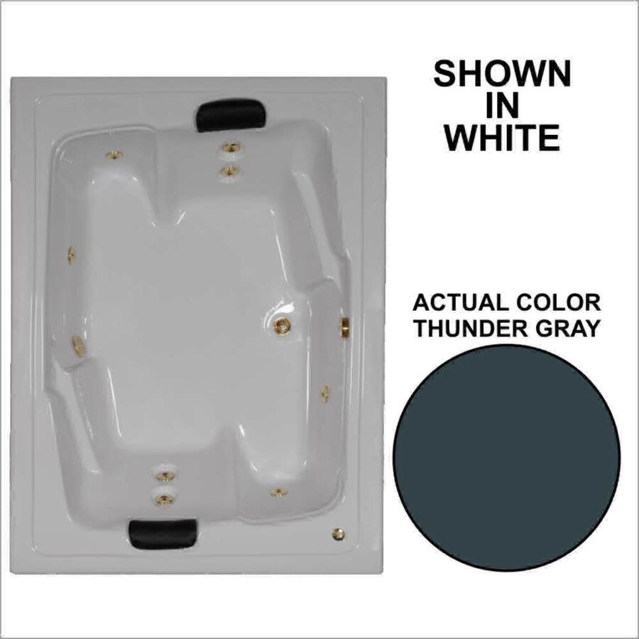 Watertech Whirlpool Baths Designer 71.5-in Thunder Gray Acrylic Drop-In Whirlpool Tub with Reversible Drain