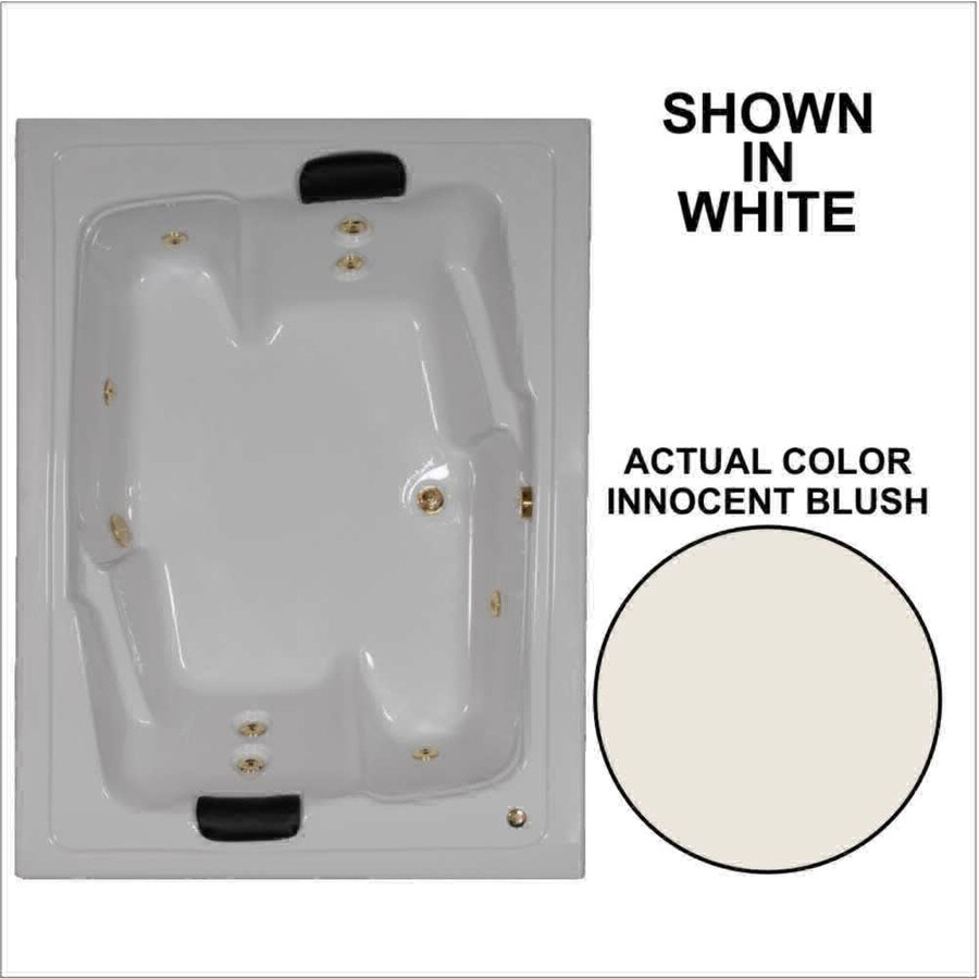 Watertech Whirlpool Baths Designer 71.5-in Innocent Blush Acrylic Drop-In Whirlpool Tub with Reversible Drain